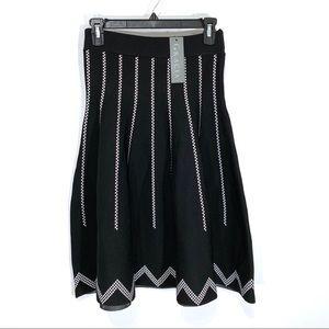 NWT Gracia Black Knit Flared Skirt